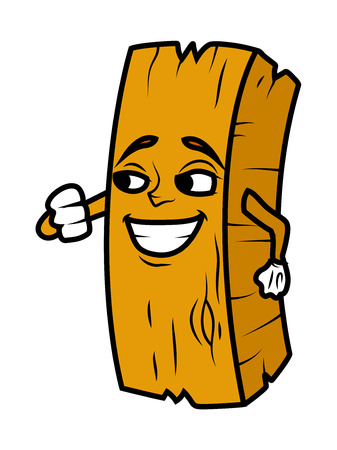 wood log: Cartoon Happy Wood Log Character Illustration