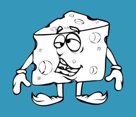 chunk: Lazy Cartoon Cheese Vector Clipart Illustration