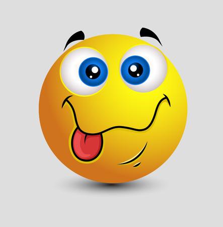 lengua afuera: Linda la lengua hacia fuera tonto de la cara sonriente Vectores