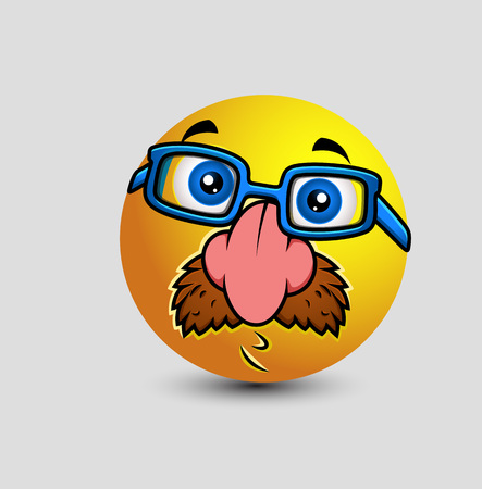 funny glasses: Funny Disguise Smiley with Fake Nose and Glasses Illustration