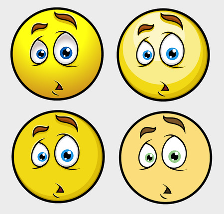 shocking face: Shocked Sad Expression Emoticon Set