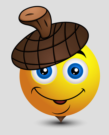 Cute Acorn Emoticon Illustration