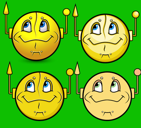 old fashioned: Old Fashioned robots Smiley Set