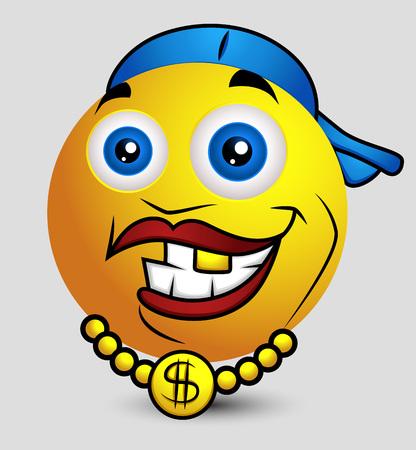 baile caricatura: Hip Hop Rapper Emoji sonriente del Emoticon