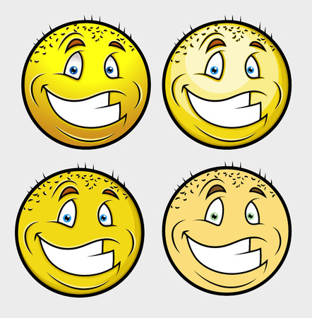 shaved head: Cheerful Bald Smile Vector Set