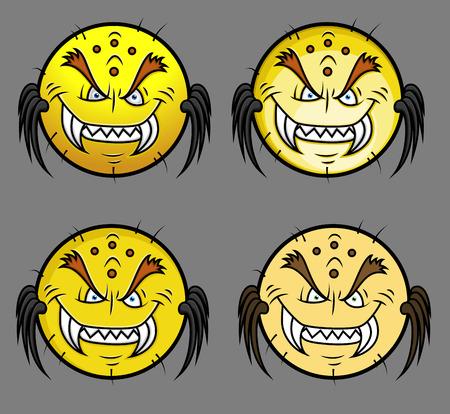 horrible: Horrible Goblin Monster Smiley Set