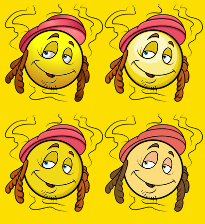 rotten: Smelly Smiley Character Vector Set Illustration