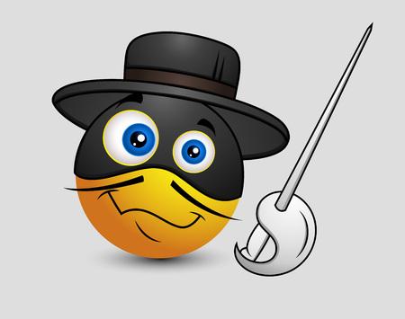 Comic Super Hero Disguise Swordsman Emoji Smiley Emoticon Illustration