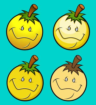 smiley: Cartoon Fruit Smiley Vector Illustration