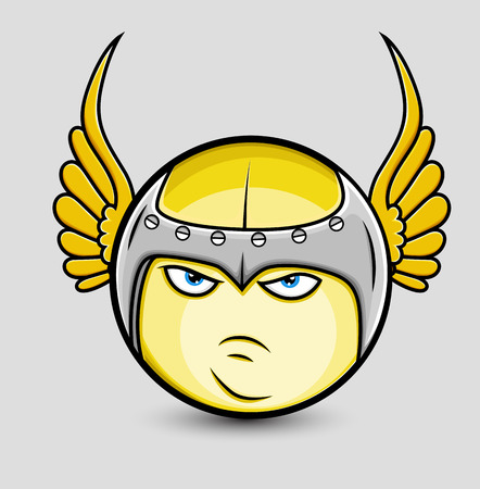 angry angel: Angry Sparta Smiley with Wings Illustration