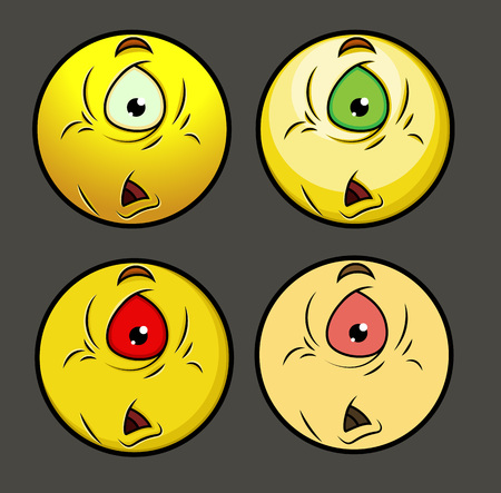 opened mouth: Upset One Eyed Alien Emoji Smiley Emoticon Illustration