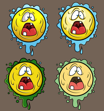 opened mouth: Terrified Cartoon Smiley Set Illustration