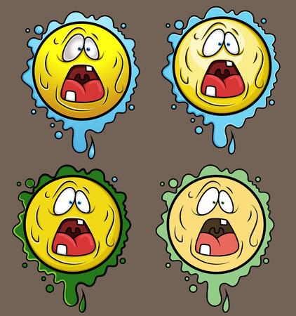 coward: Terrified Cartoon Smiley Set Illustration