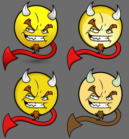 angry smiley face: Devil Smiley Set