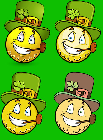 march 17: St. Patricks Day Smiley Character Set