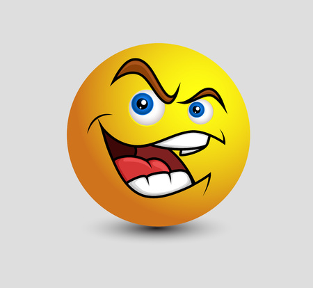 coward: Clever Smile Emoticon Vector