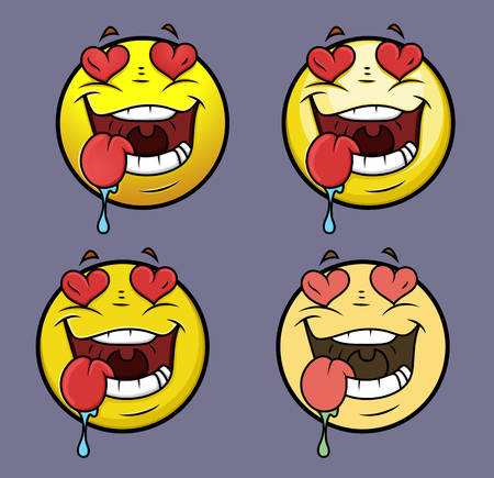 drool: Love Struck Emoji Smiley Emoticon Illustration