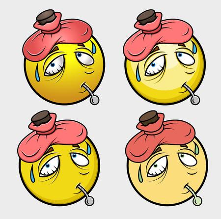ice pack: Ill Cartoon Emoji Smiley Emoticon