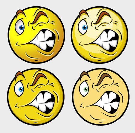 irritated: Getting Irritated Smiley Set Illustration