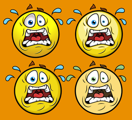 shocking face: Horrified Emoticon Set