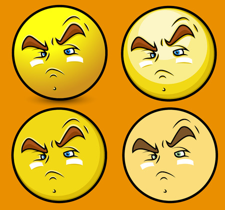 angry face: Focusing Player Smiley Set