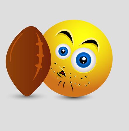 pelota rugby: Smiley sorprendido con la bola de rugbi del vector