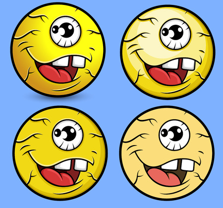 eye ball: Cartoon Eye Ball Smiley Set
