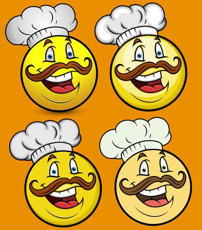 breakfast smiley face: Chef Smiley Emoji Set Illustration