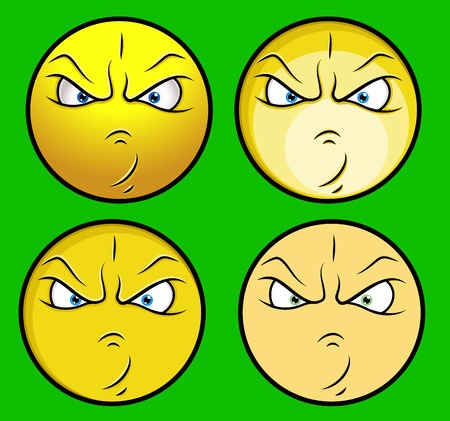 irritate: Angry Faces Vector Set