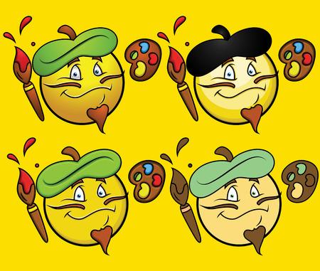 facial painting: Frech Artist Emoji Smiley Emoticon