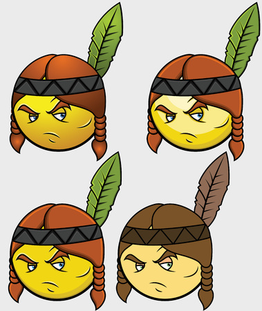 red indian: Red Indian Emoticon Set