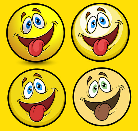 lengua afuera: Divertida la lengua hacia fuera sonriente