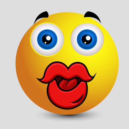 opened mouth: Funny Big Lips Smiley Illustration