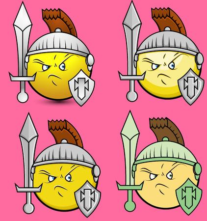 watchman: Set of Viking Soldiers Emoji Smiley Emoticon Illustration