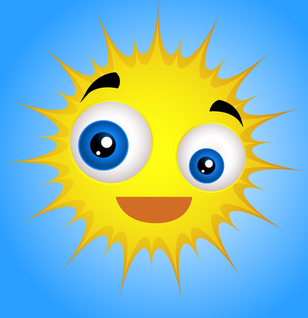 Cute Funny Sun Emoticon Illustration