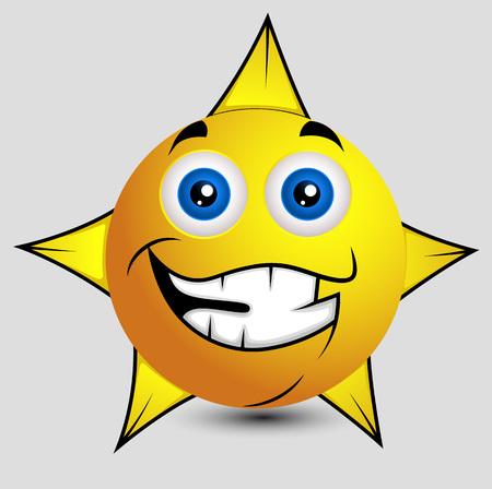 cheerful: Cheerful Star Smiley Vector Illustration