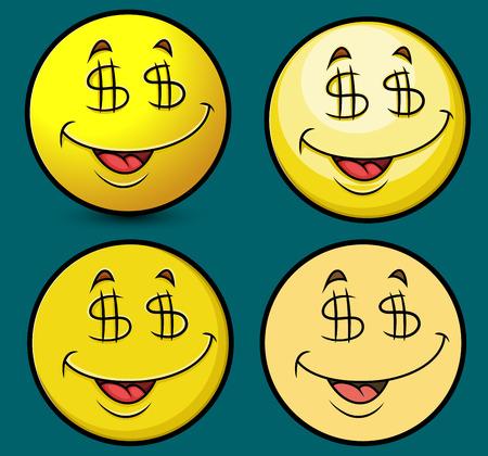 millionaire: Excited Millionaire Emoticons Illustration