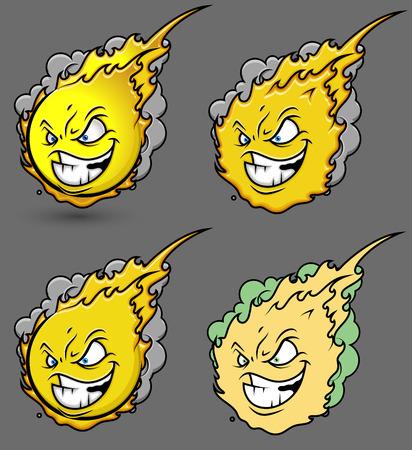 fireball: Fireball Smiley Set Illustration
