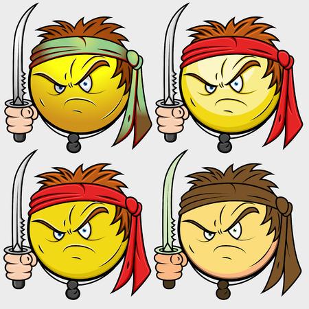 venganza: Shaolin Kung Fu guerrero Emoji sonriente del Emoticon