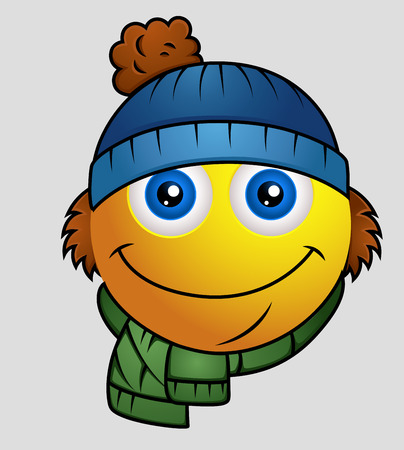 winter season: Winter Season - Cute Cartoon Emoji Smiley Emoticon