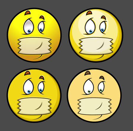 hopelessness: Silent Tape on Mouth - Cartoon Emoticon Set