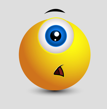 opened mouth: Shocked Single Eye Smiley Illustration