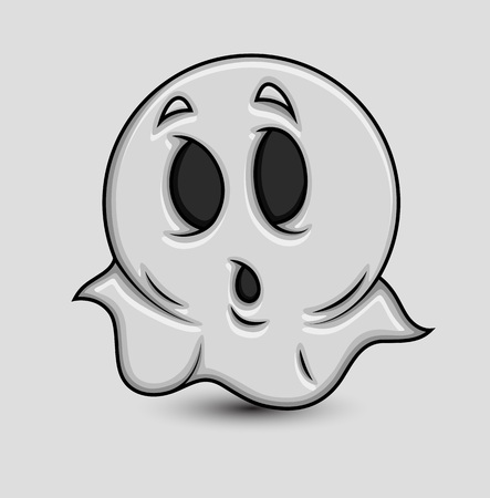 enchantment: Cute Shocked Cartoon Ghost Emoticon