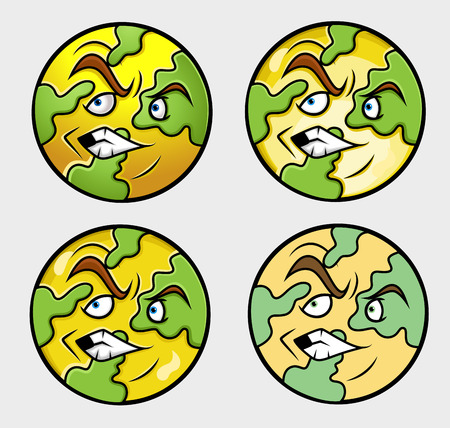 reprimand: Various Earth Emoticon Vector Set