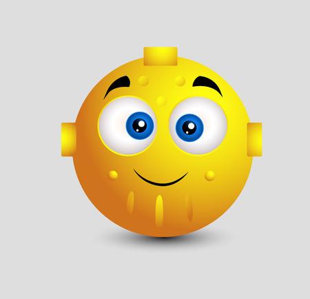 cute robot: Cute Robot Emoticon Illustration
