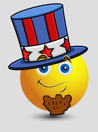 patriots: 4th of July Uncle Sam Emoji Smiley Emoticon Illustration