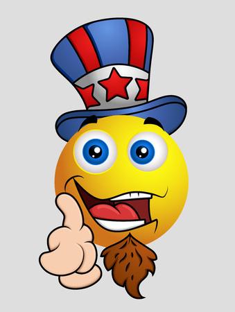 i want you: 4th of July - Uncle Sam Emoji Smiley Emoticon Illustration