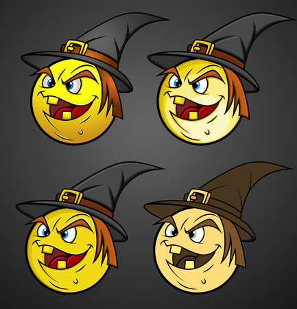 halloween witch: Halloween Witch Smiley Set