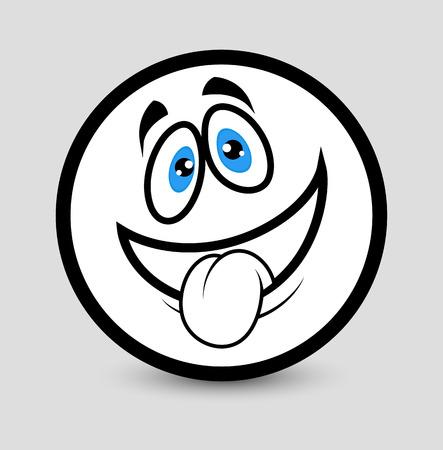 lengua afuera: La lengua hacia fuera Emoticon prediseñada Vectores
