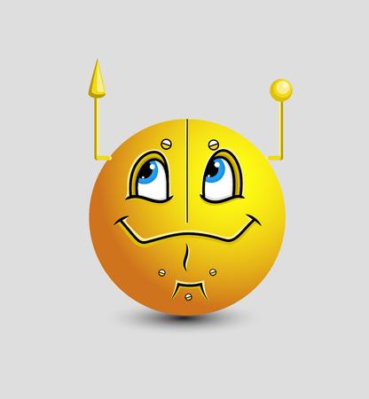 robotic: Comic Robotic Emoticon Illustration